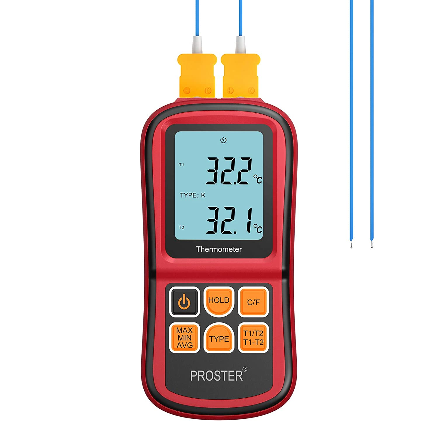Proster Digital Thermocouple Temperature Thermometer with Two K-Type Thermocouple Probe Backlight LCD K Type Thermometer Dual Channel for K/J/T/E/R/S/N Type