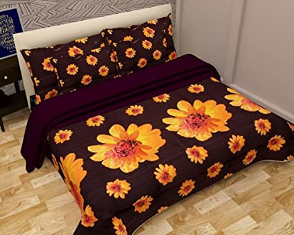 Home Crust 5D Warm Bedsheets For Double Bed  Coffee