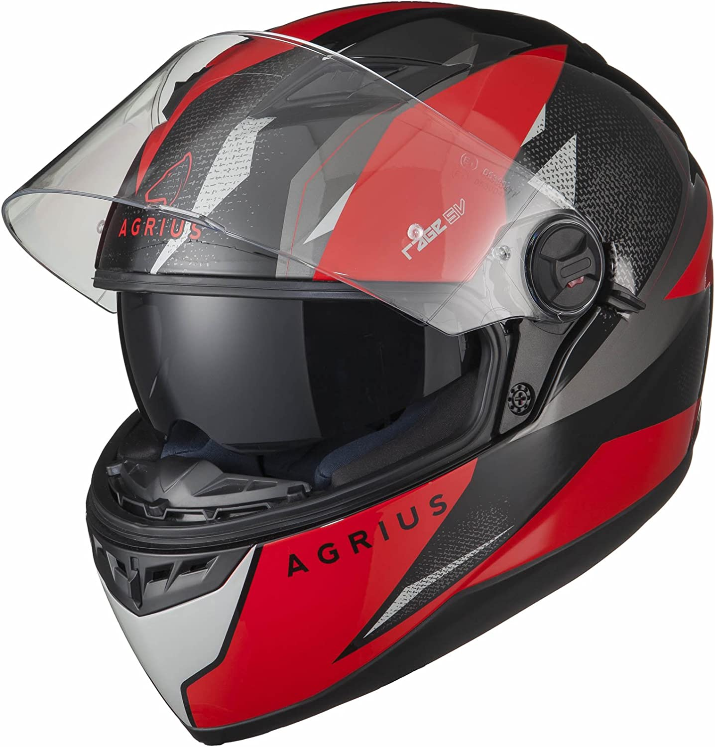 Agrius Rage SV Fusion Motorcycle Helmet S Gloss Black//Red
