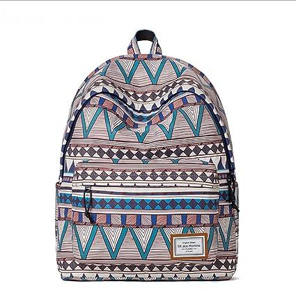 ZLQF Backpack Mochilas Escolares, Mujer Mochila Escolar Lona Grande Bolsa Estilo Étnico Vendimia Casual Colegio