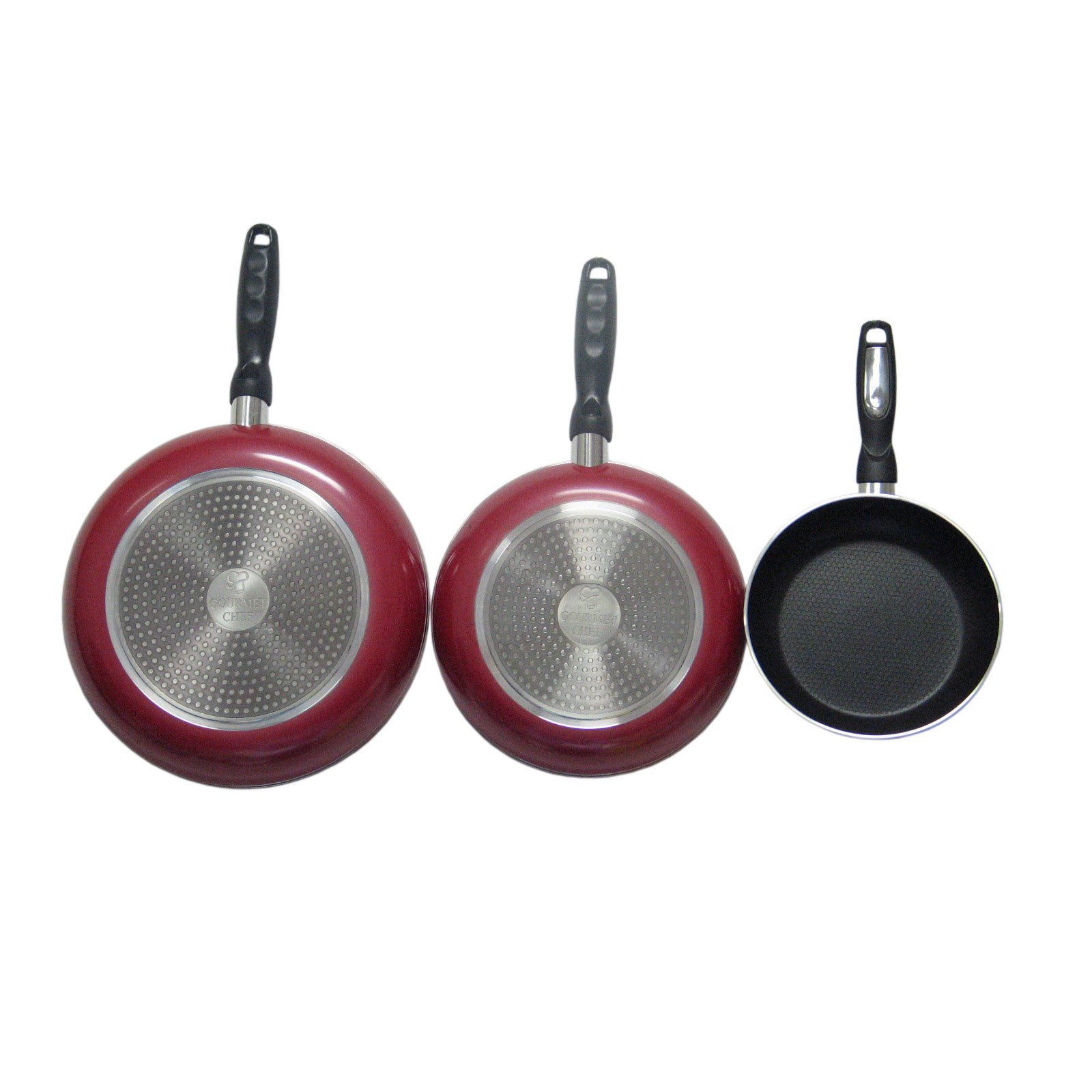 3 Piece Red Nonstick Fry Pans, Heavy-Duty, Ergonomically Designed , Round Shape, Good Quality, Aluminum Construction, Oven Safe, Dual-Riveted, Everyday Use, Eco-friendly, Easy Cleanup, Mahogany