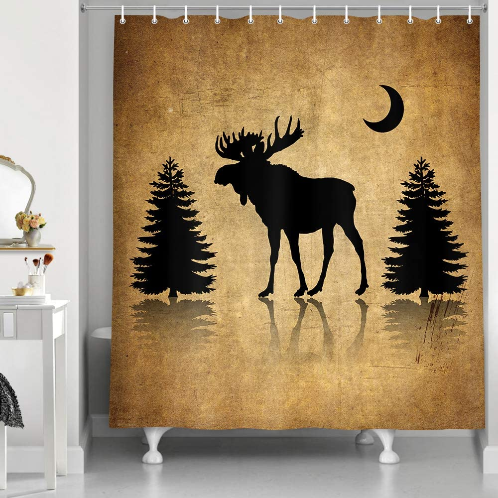 NYMB Vintage Animal Decor Shower Curtain, Rustic Elk Moose Deer Forest Pine Tree Moon Design, Countryside Farmhouse Style Bathroom Decor Sets Fabric Bath Curtains, 69X70 Inches with Hooks