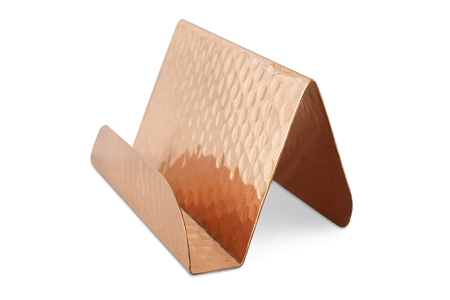 GoCraft Pure Copper Business Card Holder Stand | Fits 20-30 Business Cards | Antique Finish Copper Stand
