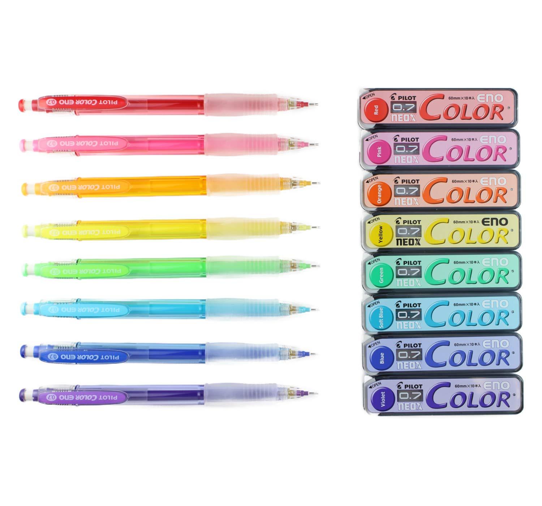 Pilot Color Eno Mechanical Pencil, 0.7mm, 8 Colors, Mechanical Pencil Lead, 0.7mm, 8 Colors with Japanese Stationery Original Package
