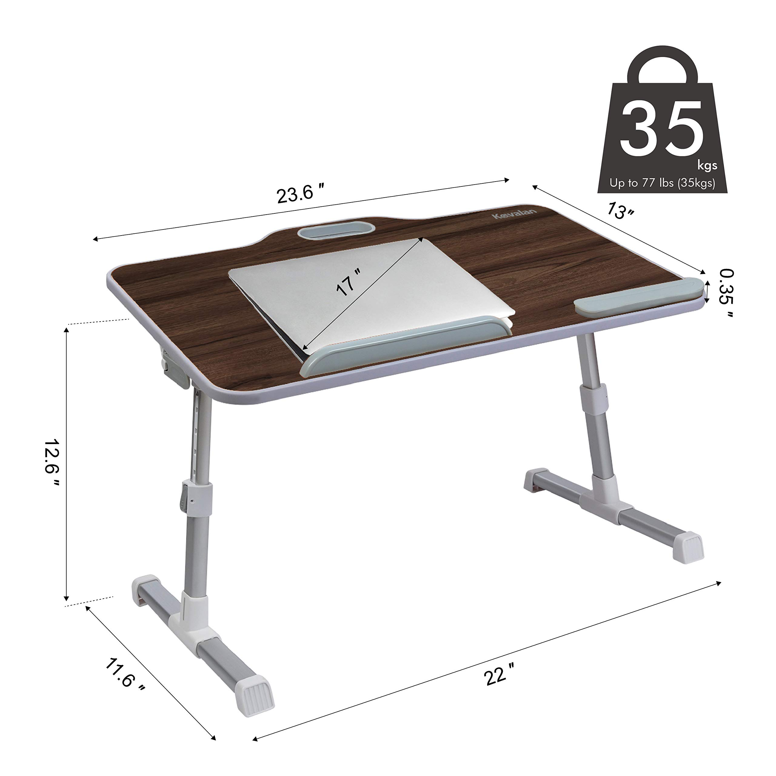 Kavalan Large Size Portable Laptop Table with Handle, Height & Angle Adjustable Sit and Stand Desk, Bed & Breakfast Table Tray, Foldable Notebook Stand Holder for Sofa Couch - Black Teak by Kavalan (Image #7)