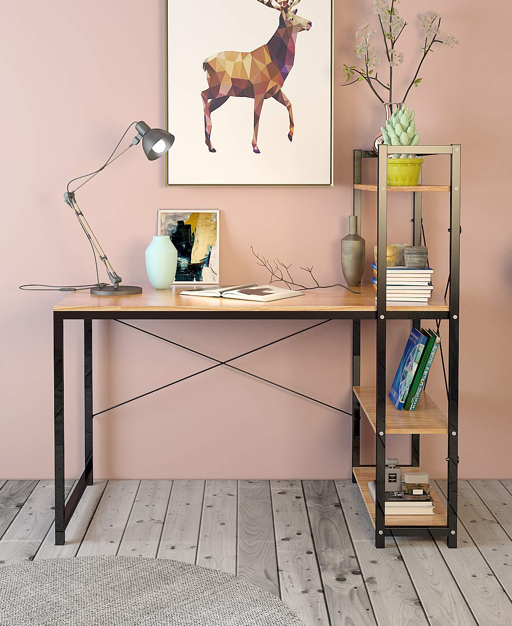 Computer Desk,Modern Style Office Workstation,Home Wood & Metal - ★L-SHAPED CORNER DESIGN - Wrap-around style provides plenty of surface space for home and office work-related or gaming activities. It creates a look that is both attractive and simple. This desk applies to any room and is a great compliment to any home office.The L-shaped design also offered storage space under the corner desk. ★STRONG AND DURABLE - Steel frame construction is sturdy and durable, which provides a strong support.The computer desk is built with a stable and powder-coated steel frame and long-lasting MDF material in a wood . ★HIGH-QUALITY MATERIAL - The home office desks is made of P2 eco-friendly class particle board and thicker steel. The thicker steel desk legs will decrease shake, which makes the desk more stable and secure. The surface of this desk is special, it is lightly textured so it can act as a smooth mouse pad perfectly. At the same time it prevents things for sliding around or falling off your desk easily. - writing-desks, living-room-furniture, living-room - 71IpRFOFO1L -