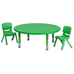 Flash Furniture 45'' Round Green Plastic Height Adjustable Activity Table Set with 2 Chairs