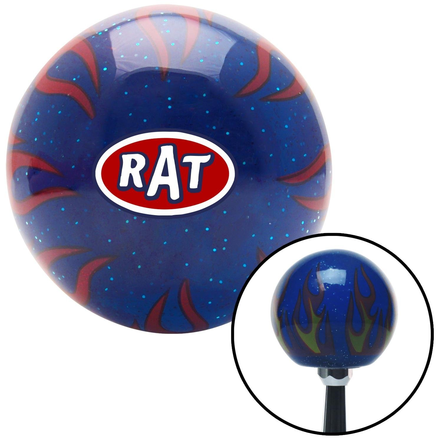 American Shifter 251898 Blue Flame Metal Flake Shift Knob with M16 x 1.5 Insert Rat