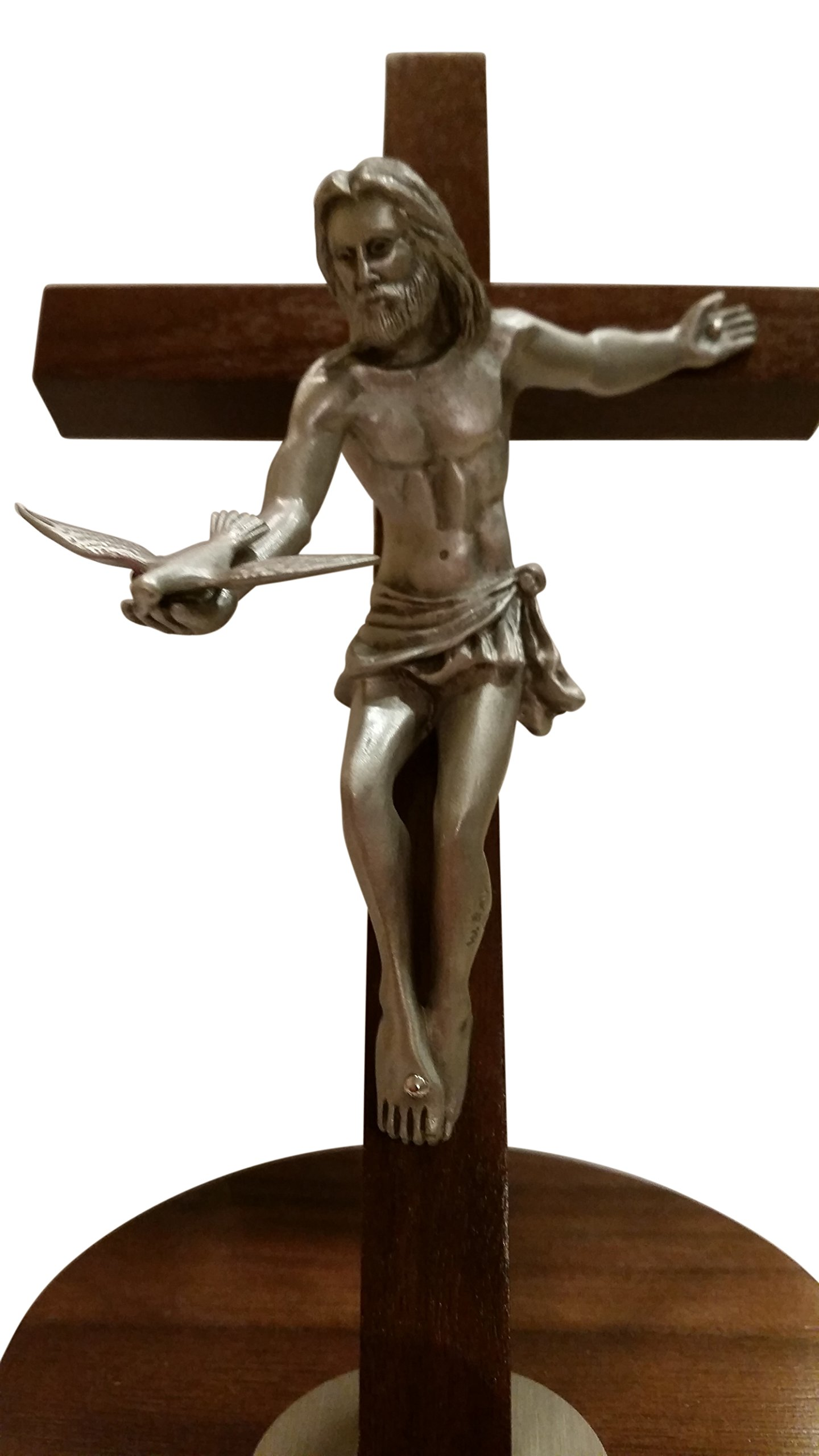 Inspire Nation Gift of the Spirit Walnut Wood Standing Wall Cross Crucifix with Removable Base for Hanging 8 inches by Inspire Nation (Image #8)