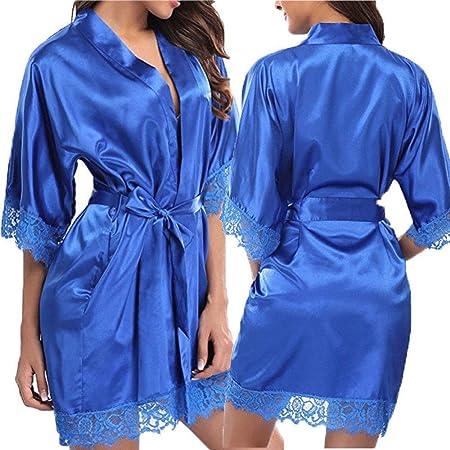 Bata Personalizada, Bata De Seda para Mujer Vestidos De Novia Bata De Satén Tallas Grandes Pijamas De Boda,Grey-L: Amazon.es: Hogar