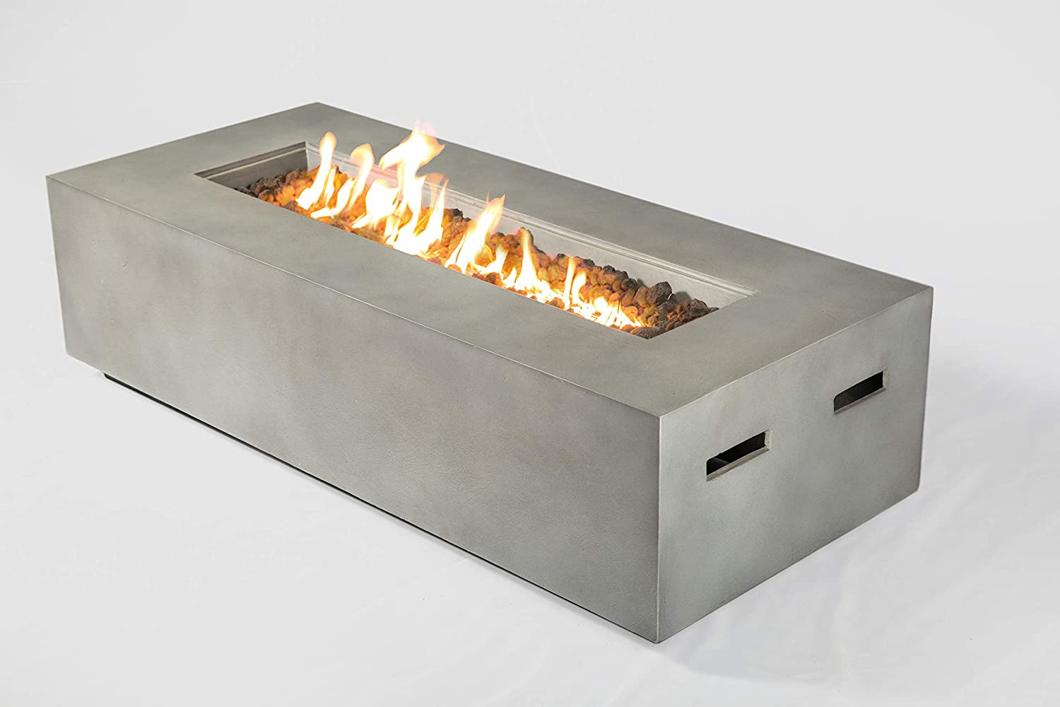Propane Outdoor Fire Pit Cm 1012c Rectangular Gas Fire Table Table For Balcony Courtyard Balcony Terrace And Barbecue Low Height Fireplace Natural Concrete Size 16 H X 42 W X 20
