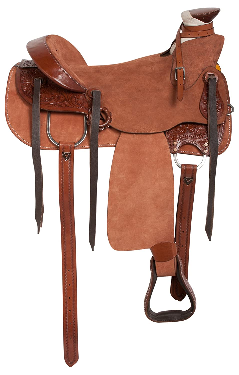 Black Leather and Synthetic 16 Inch Western Pro Trail Mule Saddle 16 pounds