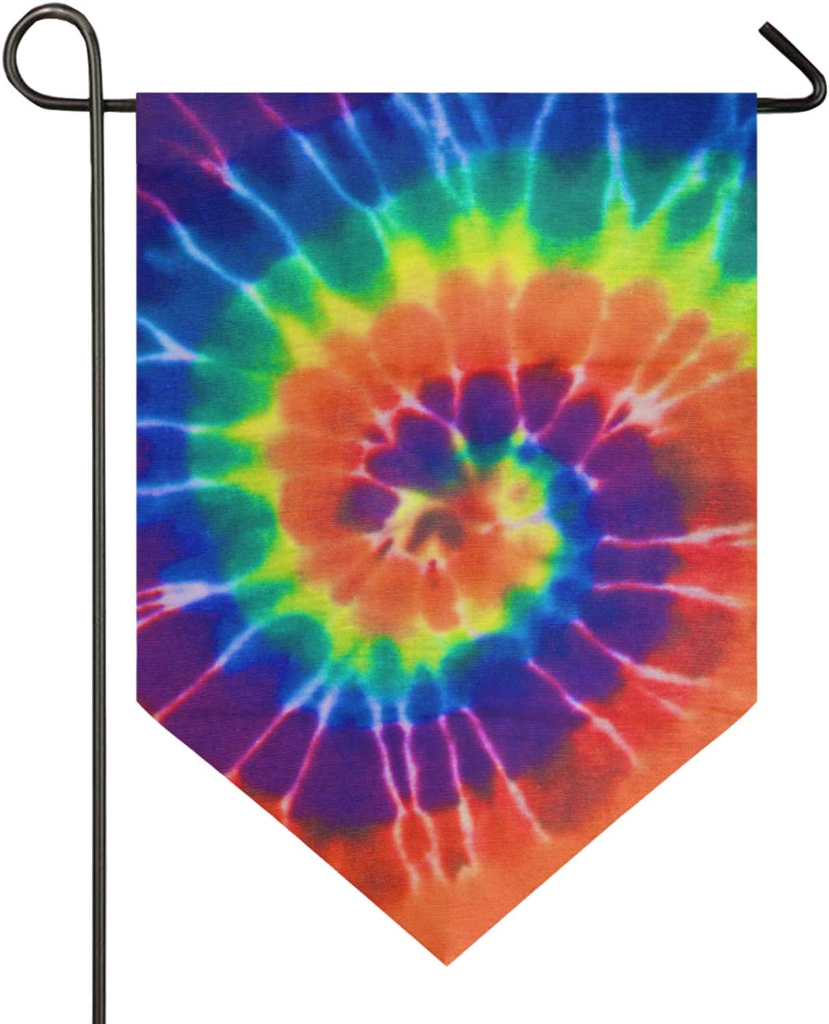 Oarencol Rainbow Tie Dye Colorful Watercolor Garden Flag Double Sided Home Yard Decor Banner Outdoor 12.5 x 18 Inch