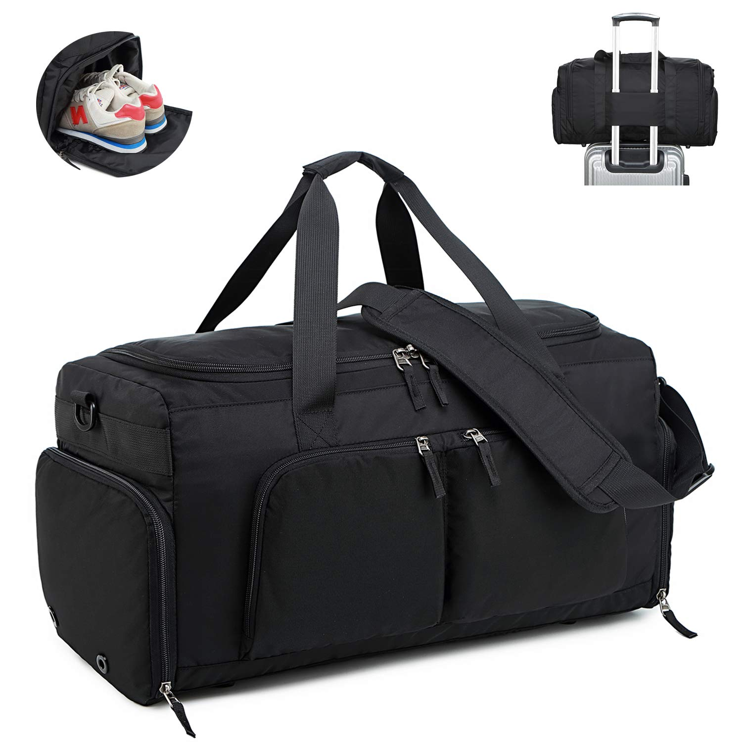 d15e0d8be Amazon.com | Lightweight Travel Duffle Bag Sport Gym Bag for Men and Women  Overnight Duffel Bag with Shoe Compartment (Black with Shoe Compartment) |  Sports ...