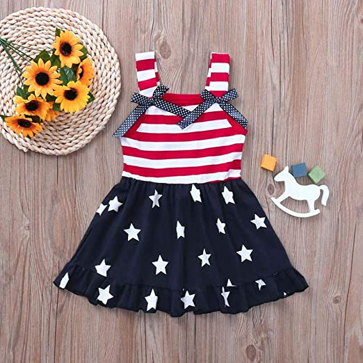 CM C/&M WODRO Toddler Baby Girls Summer Outfit Stars and Stripes Bow-Knot Dress Independents Day Suits