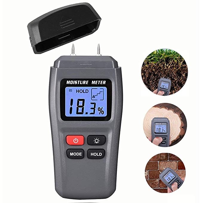 Losenlli Medidor de humedad de madera Fit MT15 2 pines Detector de humedad digital con pantalla