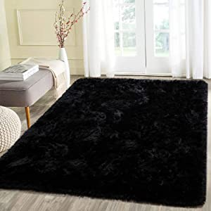 Beglad 5.3 ft x 7.5 ft Soft Fluffy Area Rug Modern Shaggy Bedroom Rugs for Kids Room Extra Comfy Nursery Rug Floor Carpets Boys Girls Fuzzy Shag Fur Home Decor Rug, Black