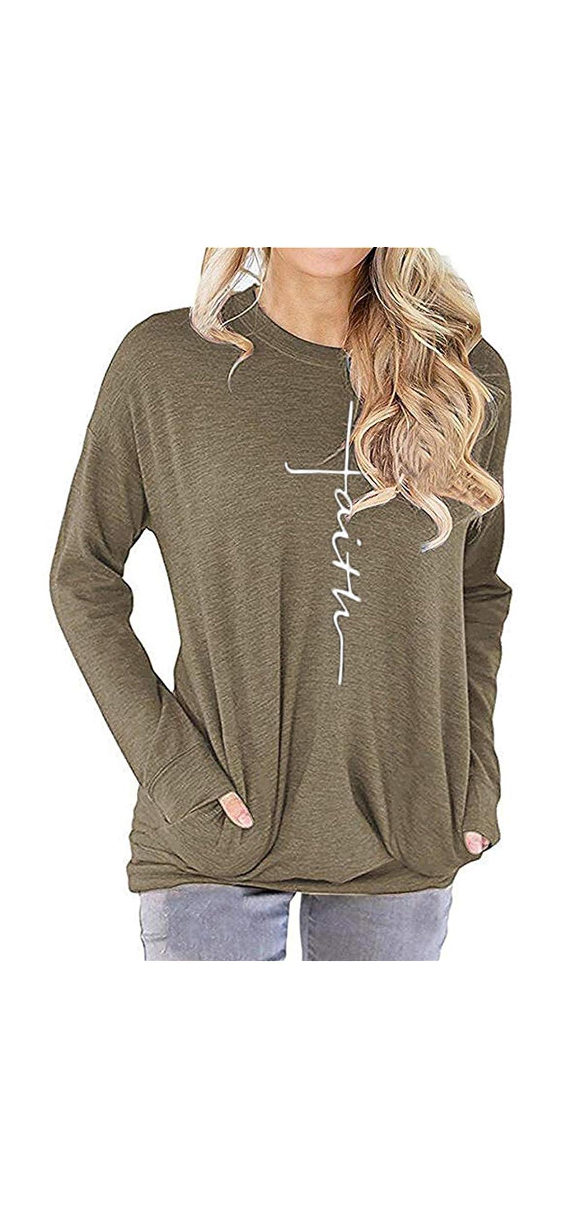 Women's Casual Letter Print Crewneck T-shirt Long Sleeve