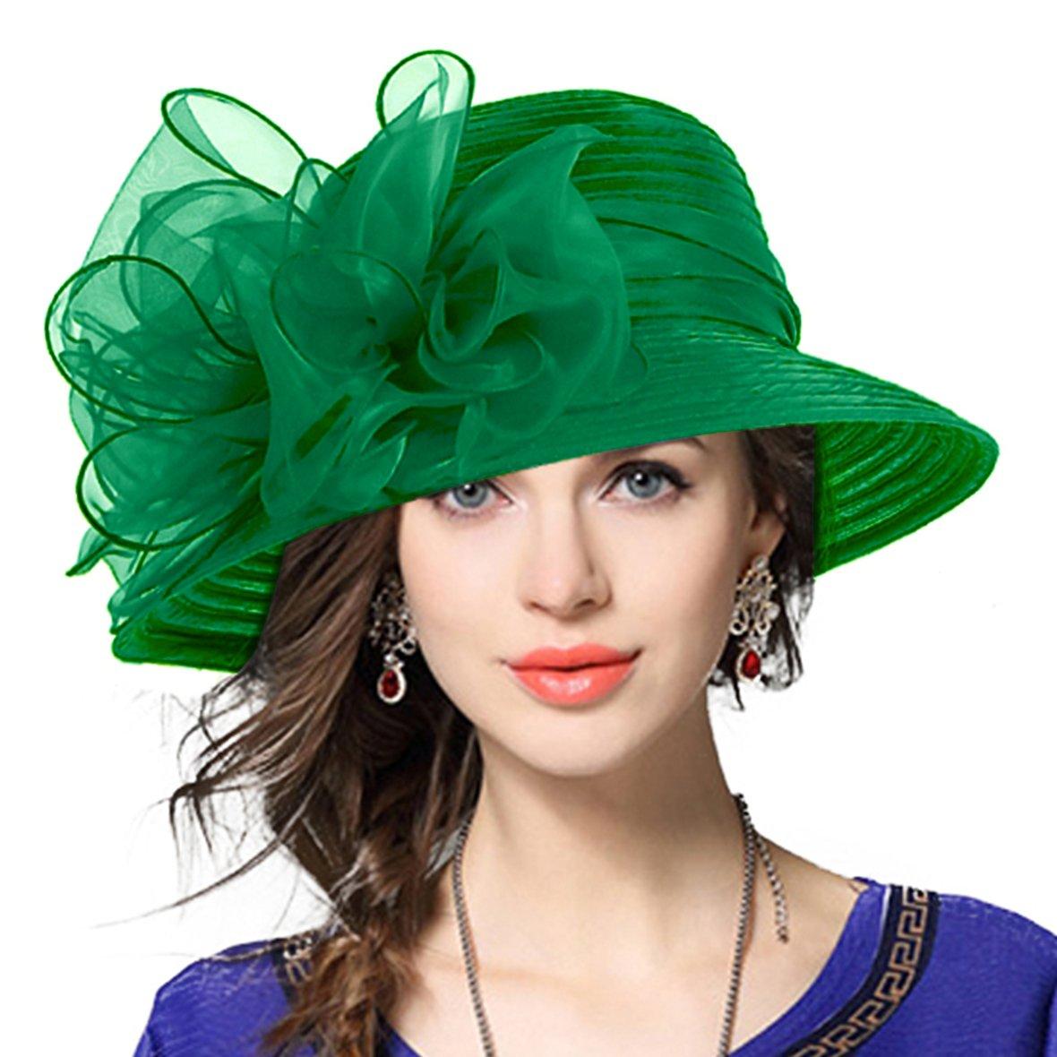 VECRY Lady Derby Dress Church Cloche Hat Bow Bucket Wedding Bowler Hats (Green, Medium)
