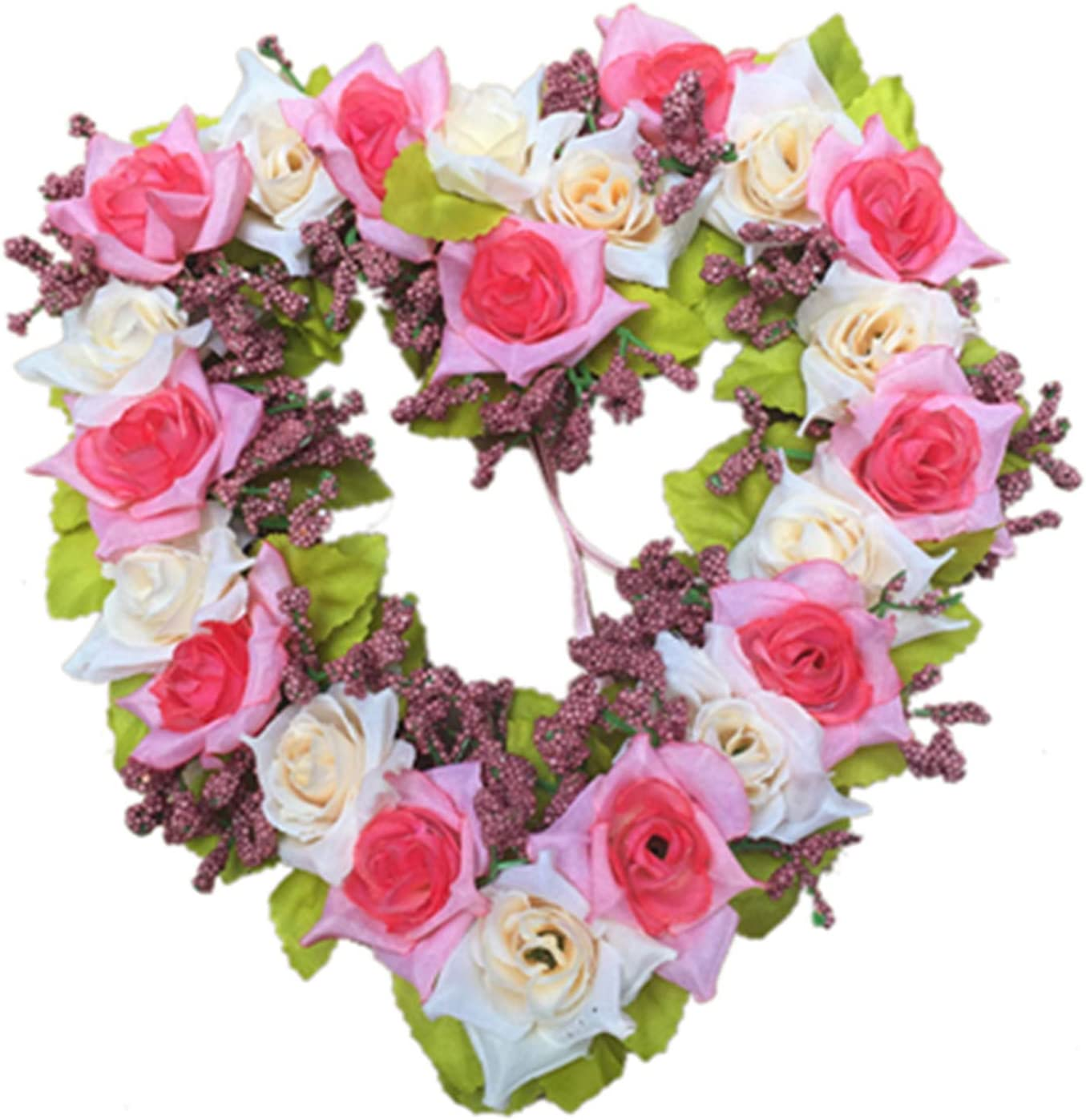 Romantic Heart Shaped Wreath Artificial Flower Hanging Garland for Wedding Party