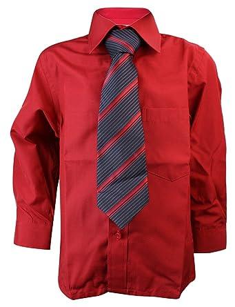 photos officielles 5aaa8 db4bc Chemise Rouge Enfant garçon avec Cravate Fine coordonnée ...