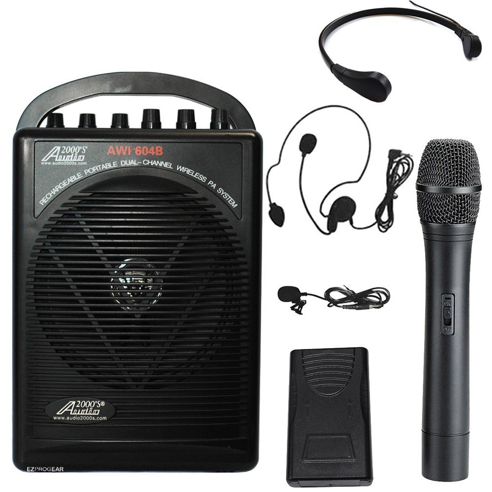Audio2000 604BHL/TR15 Battery Powered Dual Channel Wireless Microphone Portable PA System