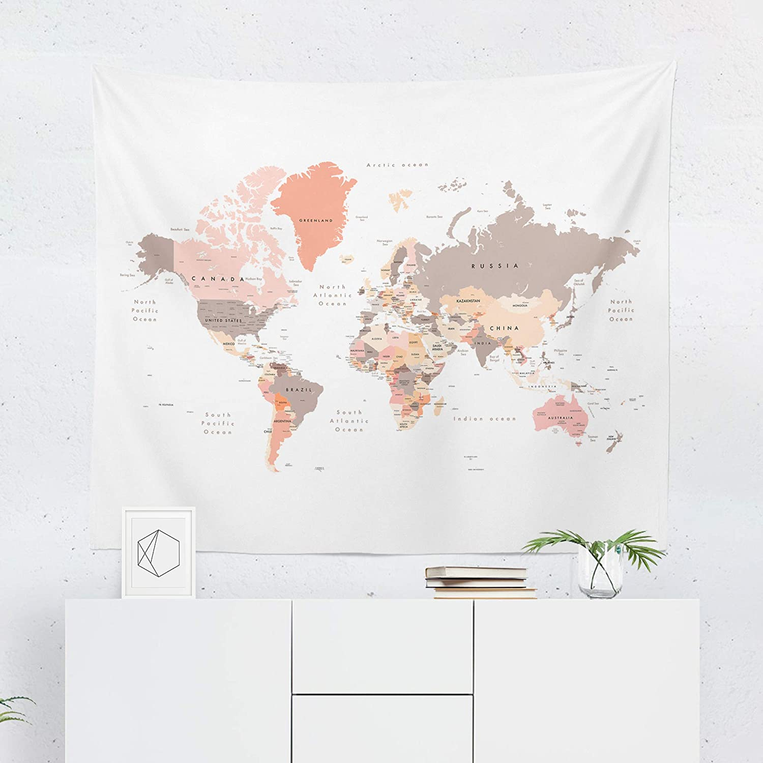 Printed in the USA Brown Map Tapestry Wall Hanging World Maps Globe Country Colorful Tapestries Decor College Dorm Living Room Art Gift Bedroom Dormitory Bedspread Small Medium Large