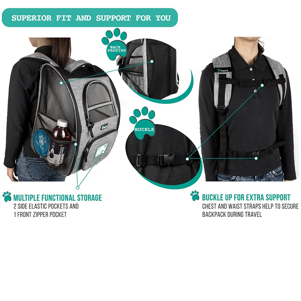 PetAmi Deluxe Pet Carrier Backpack for Small Cats and Dogs, Puppies | Ventilated Design, Two-Sided Entry, Safety Features and Cushion Back Support | For Travel, Hiking, Outdoor Use (Heather Gray) by PetAmi (Image #5)