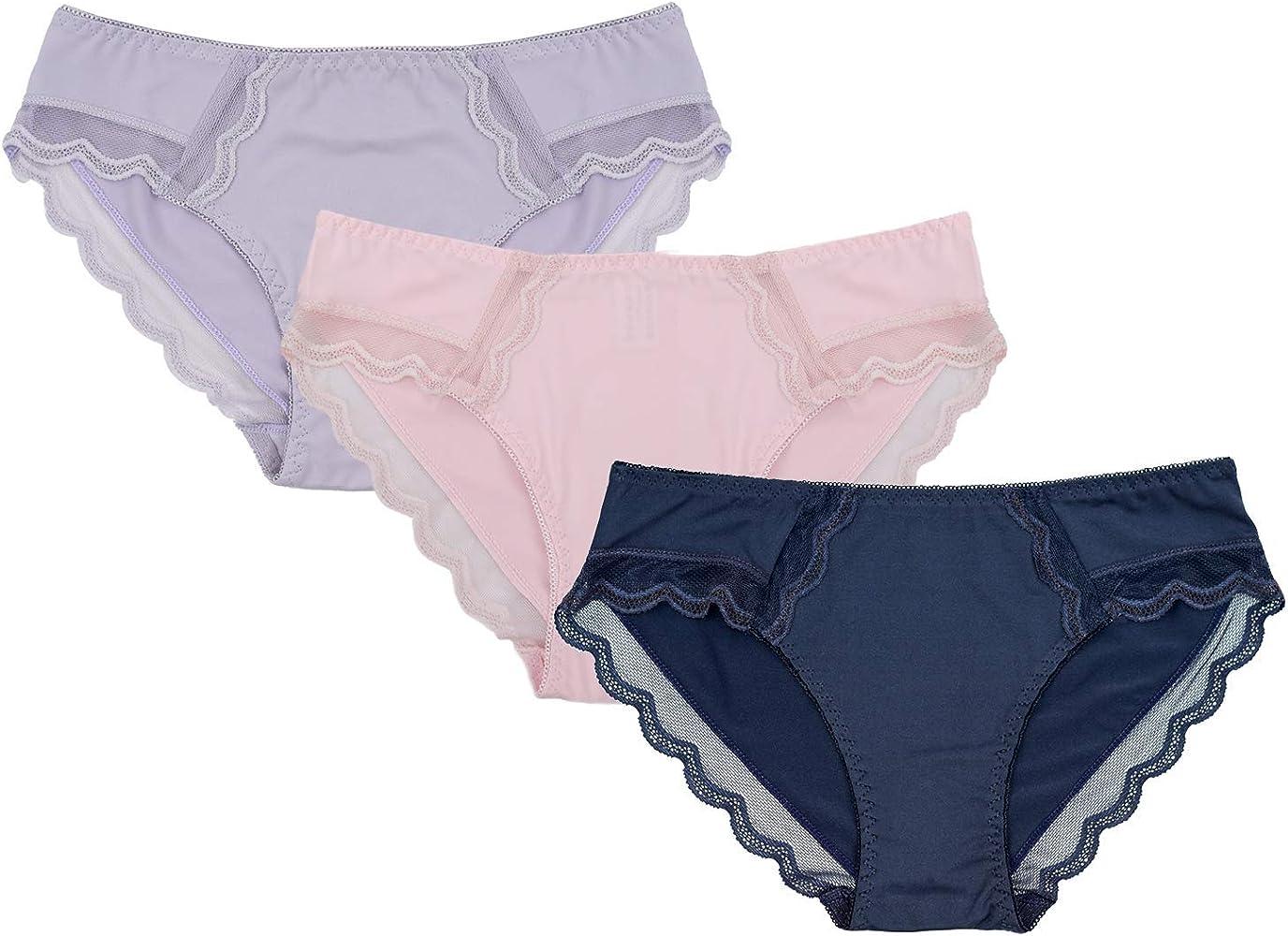Channo Braguitas Lycra Microfibra con Encaje Estilo Bikini Suave cómodo Pack de 3 Bragas (Pack B, S/M): Amazon.es: Ropa y accesorios