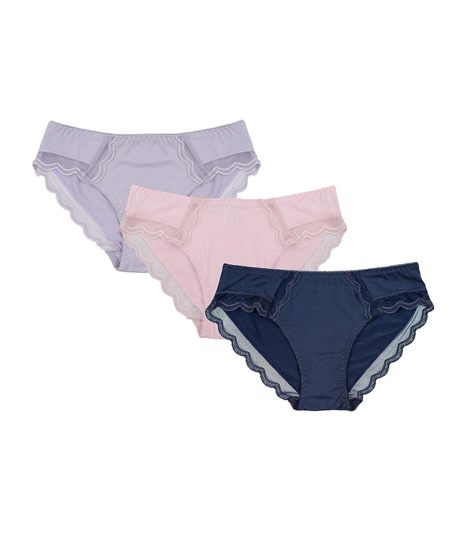 Channo Braguitas Lycra Microfibra con Encaje Estilo Bikini Suave cómodo Pack de 3 Bragas (Pack A, S/M): Amazon.es: Ropa y accesorios