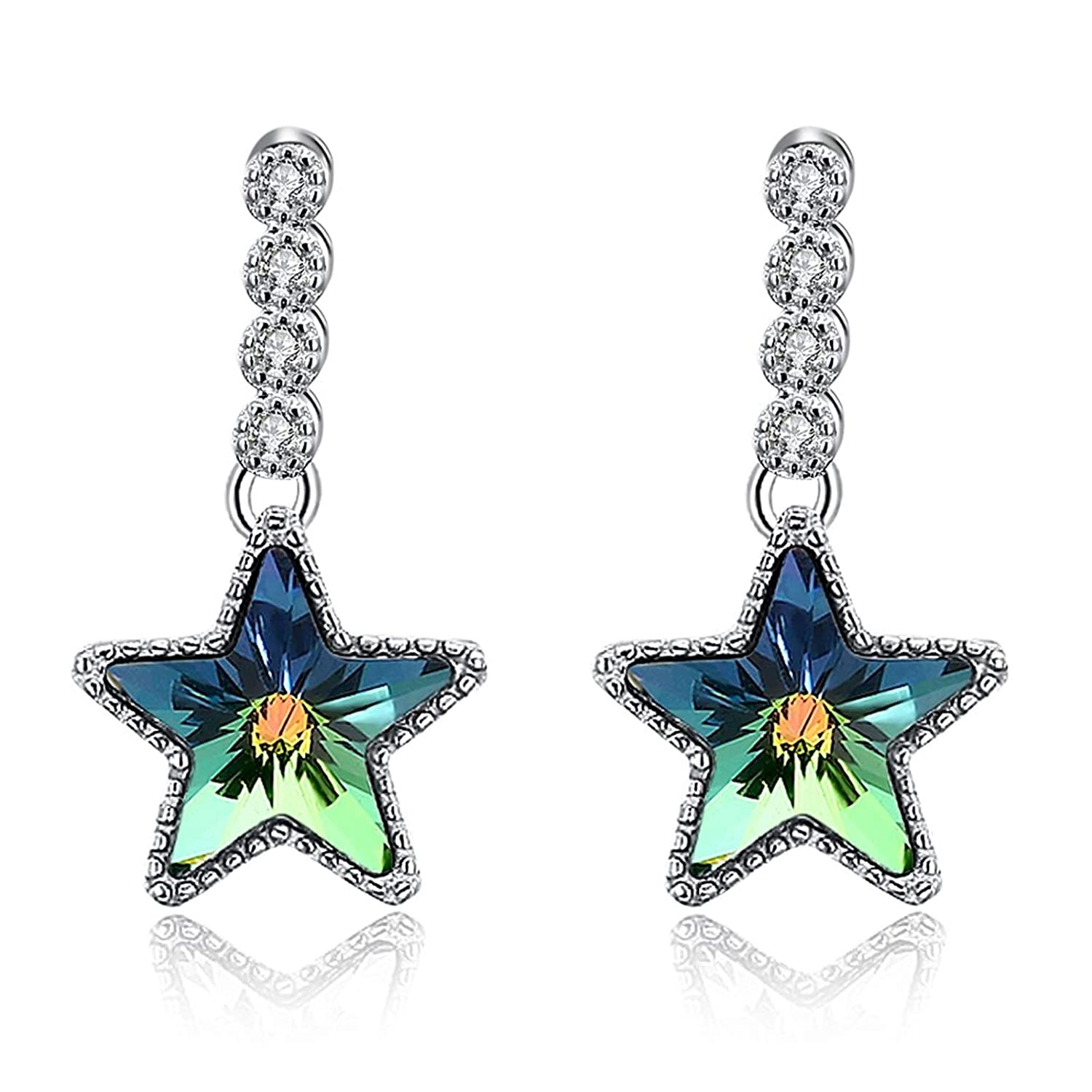 Adisaer Silver Plated Stud Earrings Gemstone Blue Green 4 Round Mini-Crystals Star Earrings For Her,Bridal Gift