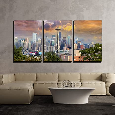 Wall26 3 Piece Canvas Wall Art Seattle Washington Cityscape Skyline With Stormy Sky Modern Home Art Stretched And Framed Ready To Hang 24 X36 X3 Panels Posters Prints