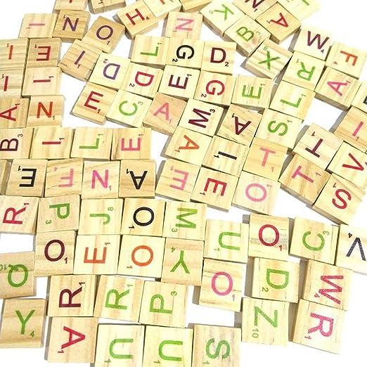 Jacqu 100 Piezas de Madera Scrabble baldosas Multicolor Letras números para artesanía Madera Alfabeto Juguete: Amazon.es: Hogar