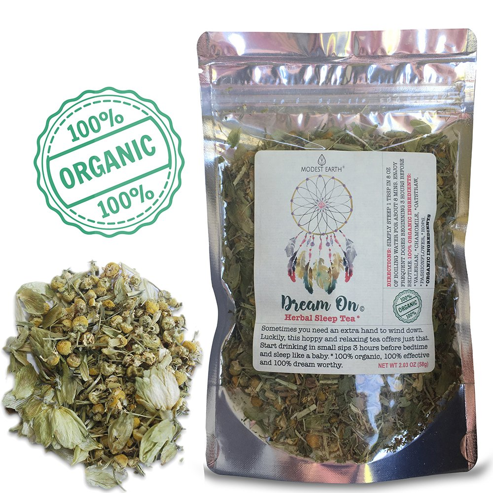 Modest Earth Dream On Tea  100% ORGANIC Sleep Aid Herbal Drink   Natural Valerian Root INSOMNIA Remedy   Nighttime Relaxation & Anxiety Relief   BETTER, DEEPER SLEEP   32+ SERVINGS (2.03 OZ)