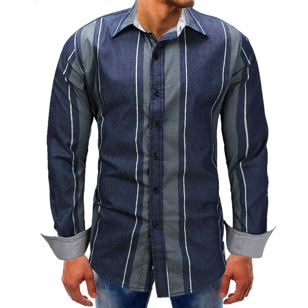 Mose Blue Striped Shirt for Men Fashion Men Striped Long-Sleeve Beefy Button Basic Solid Blouse Tee Shirt Top (Blue, 3XL) by Mose (Image #1)