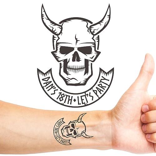 Amazon Com Groovi Viking Skull Birthday Personalised Temporary