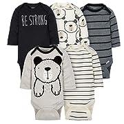 Gerber Baby-Boys 5 Pack Variety Onesies, Grey Bear Long Sleeve, 0-3 Months