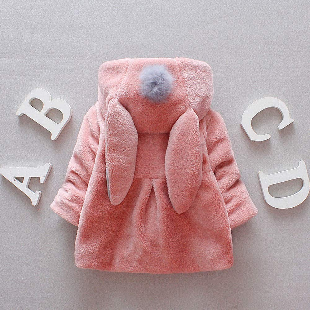 Dolwins Baby Girl Cute Ear Faux Fur Winter Warm Coat Cloak Jacket Thick Warm Clothes