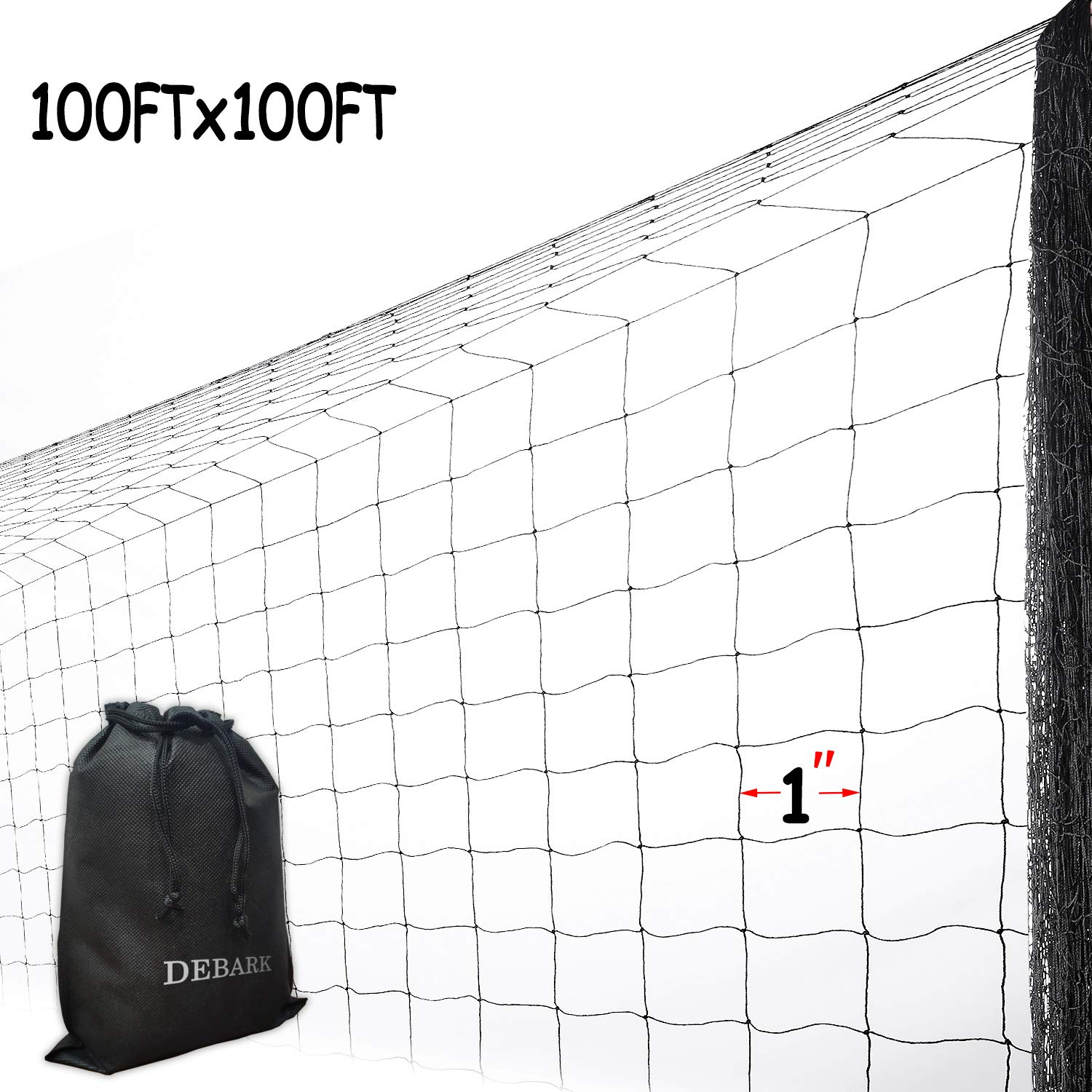 DEBARK Net Netting for Bird Poultry Aviary Game Pens Economical Bird Netting-Protect Blueberry,Plants and Vegetables from Ows (100'x100' Dense Net)