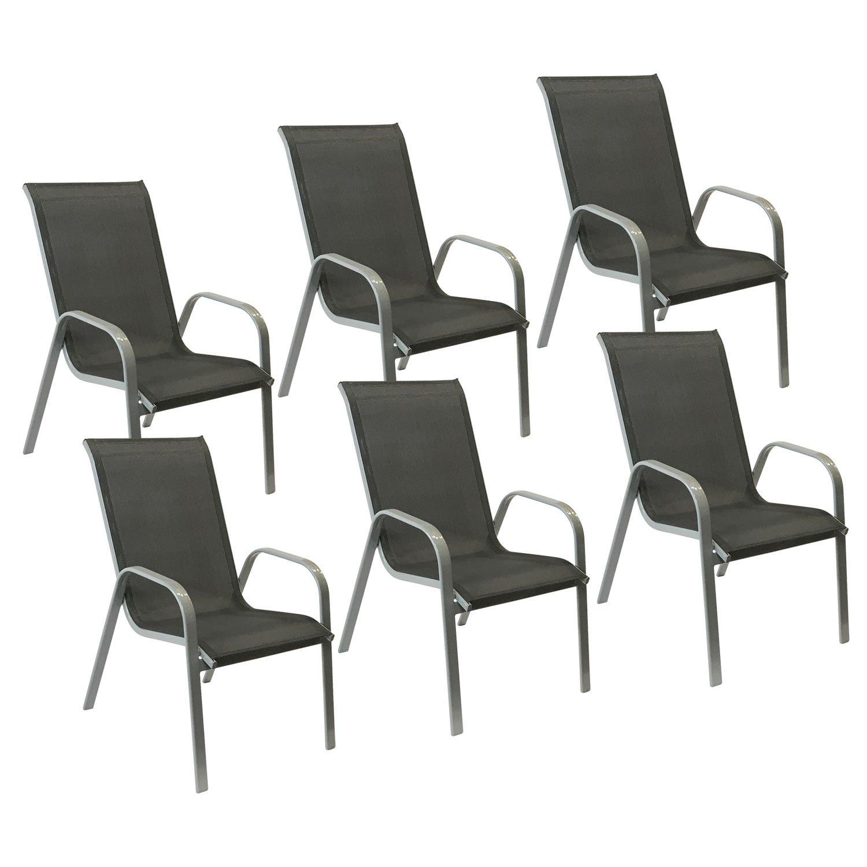 Happy Garden Lot de 6 chaises Marbella en textil/ène Gris Aluminium Gris