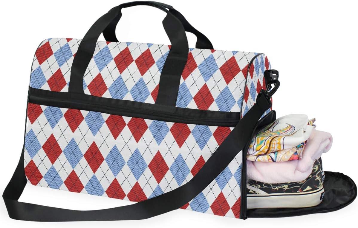 MALPLENA Argyle Blue Red Geometry Packable Duffle Bag For Men Women Tear Resistant Sports Duffle