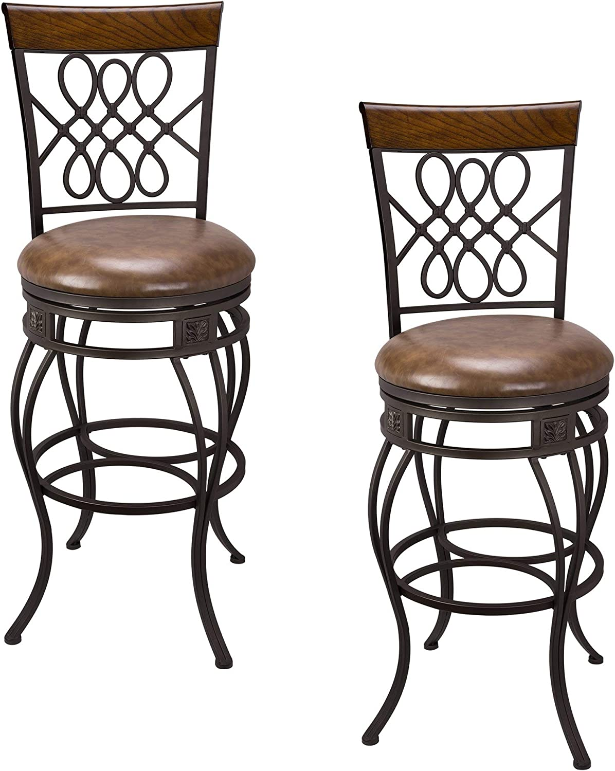 Kira Home Monarch I 30 Swivel Bar Stool Brown Leatherette Seat Cushion Scroll Backrest With Real Wood Accent Old Steel Finish Set Of 2 Furniture Decor Amazon Com
