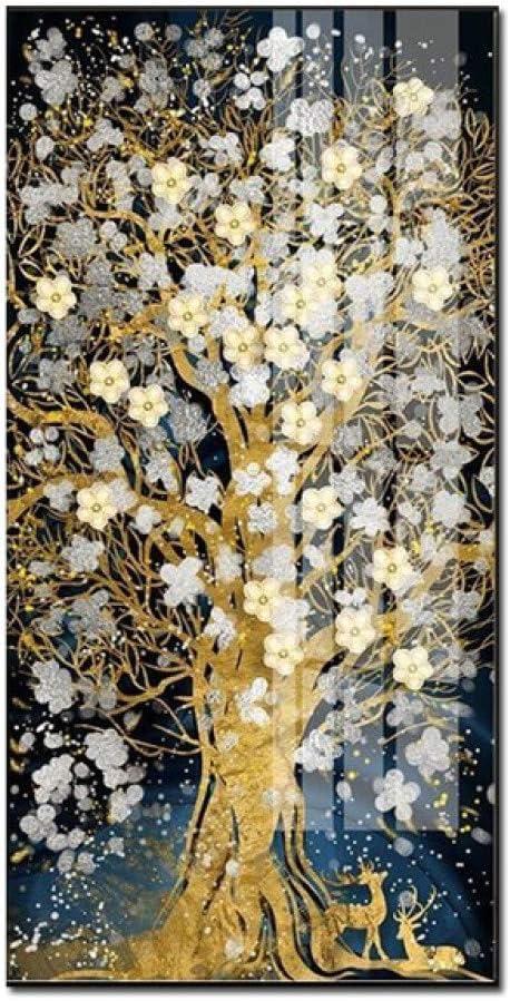 N / A Árbol de Oro Abstracto Flor Lienzo Pintura Sala Pintura Ciervos Pintura nórdica Pared Arte decoración sin Marco 21X35 CM