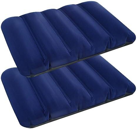 com-four® Cojín Inflable 2X: Almohada de Viaje cómoda para Viajes en automóvil, Tren y autobús - Cojines de Bolsillo con cojín de Aire (02 Piezas - ...