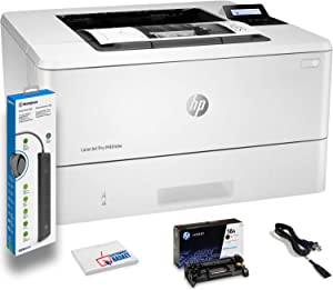 HP Laserjet Pro M404dw Wireless Monochrome Laser Printer with Duplex Printing (W1A56A) with Power Strip Surge Protector + Electronics Basket Microfiber Cleaning Cloth