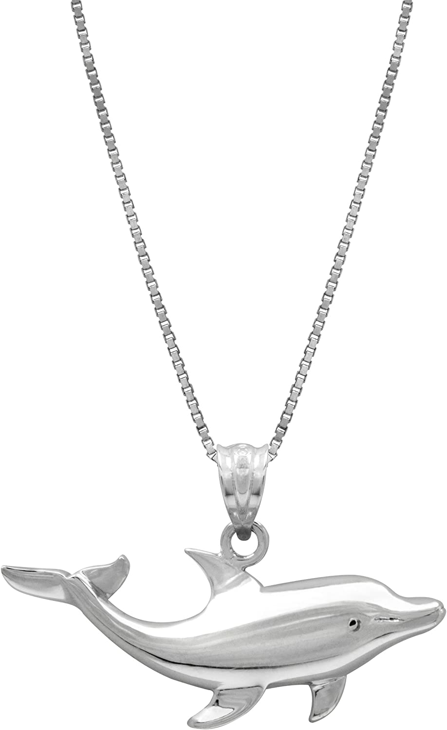 De Buman Two-tone CZ /& Crystal Dolphin Necklace 925 Silver Chain 18 INCHES