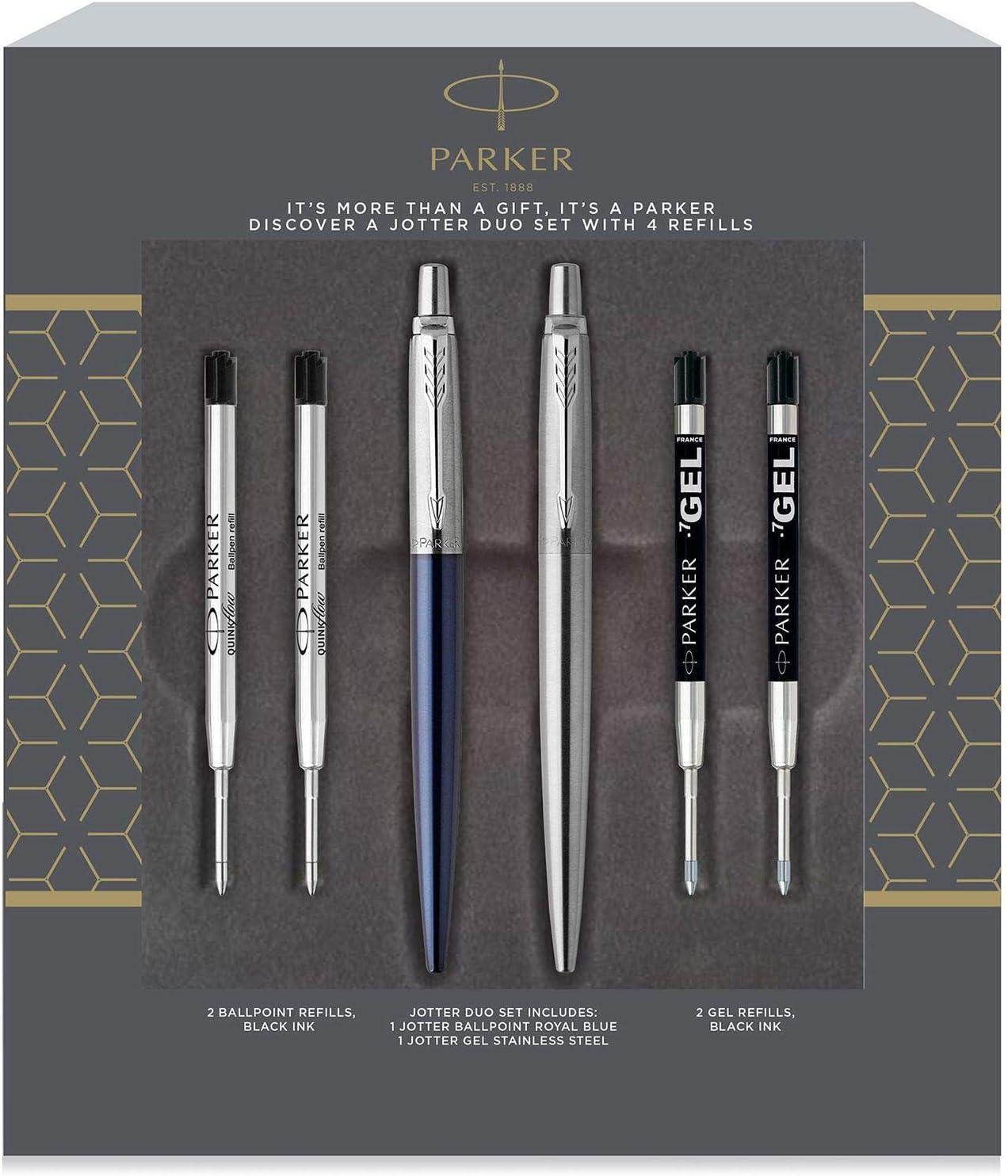 Parker Jotter London Royal Blue Ballpoint and Chrome Gel Pen Set