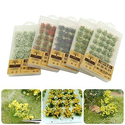 EUGNN Grass Set Flower Cluster Grass Tufts Model Green Bushy Tufts- Static Scenery Model DIY Miniature for Military Layout Or Train Landscape: Garden & Outdoor