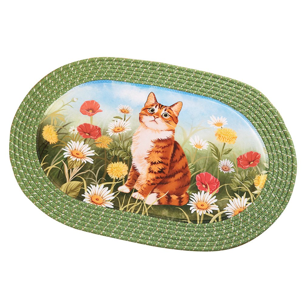 Collections Etc Cat in Daisy Flower Garden Decorative Oval Braided Accent Rug