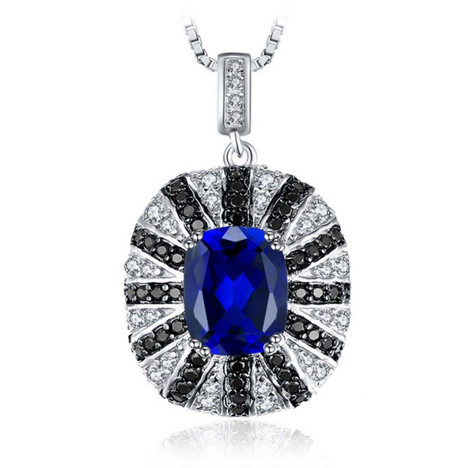 MMC Luxury 6ct Round Stone Silver Pendants Necklaces